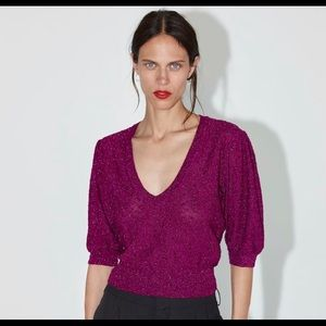 Zara Fuchsia Pink Sparkling Crop Sweater NWT